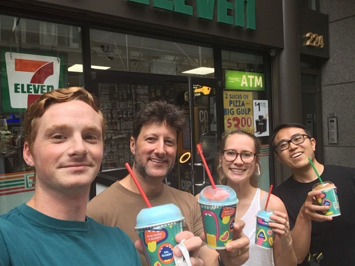 Sandbox celebrating Free Slurpee Day!