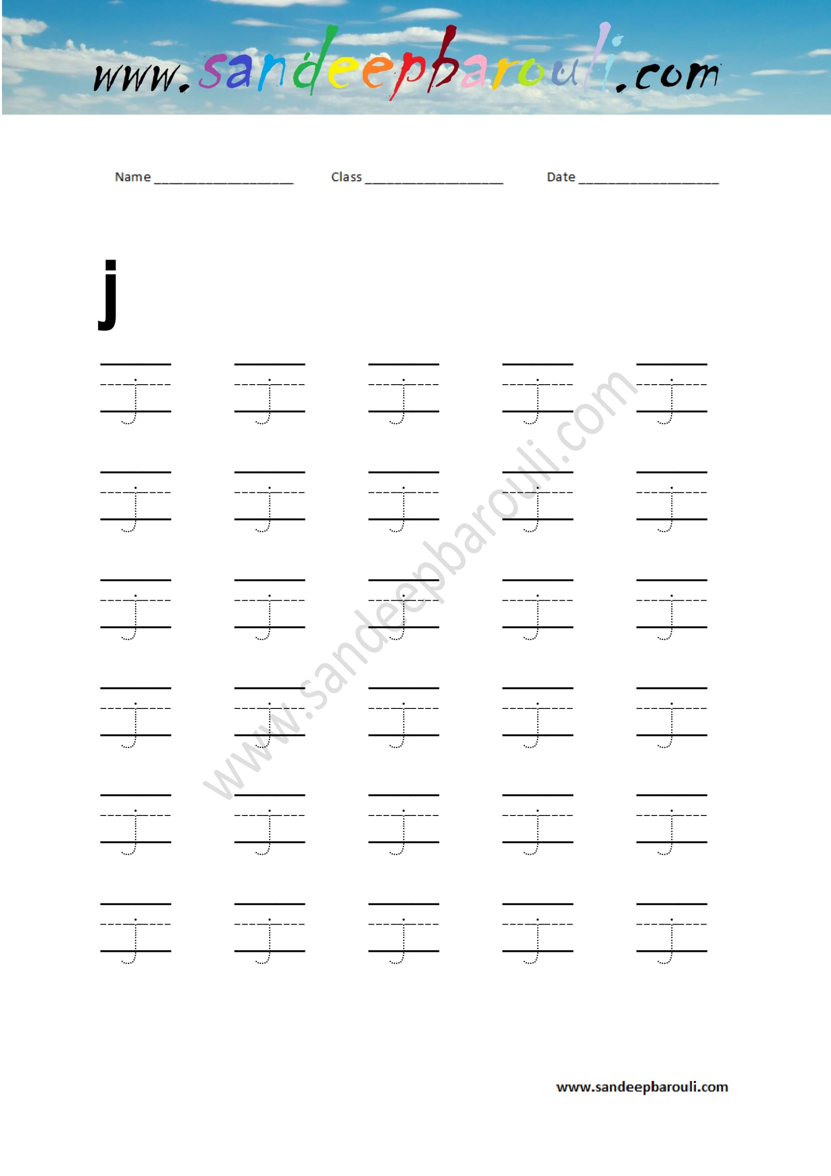 Handwriting Practice Letter J Sandeepbarouli