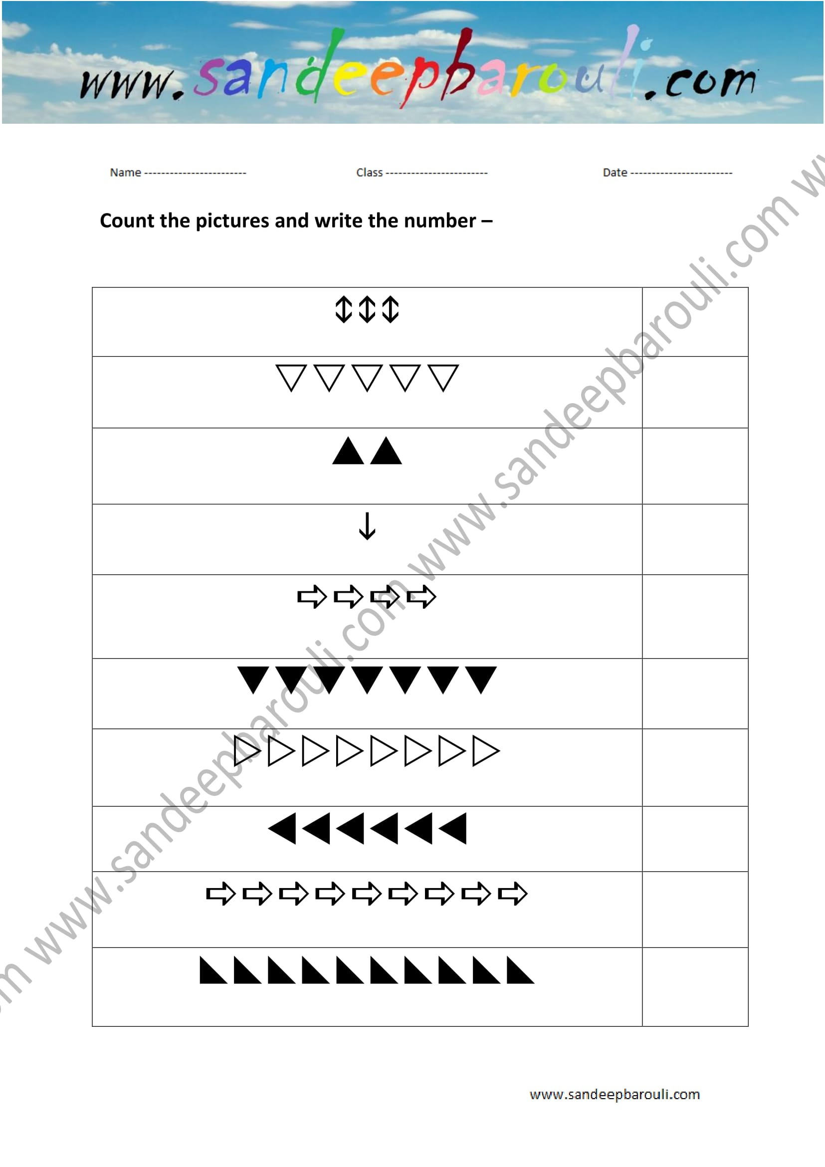 Count The Picture And Write The Number Worksheet 10