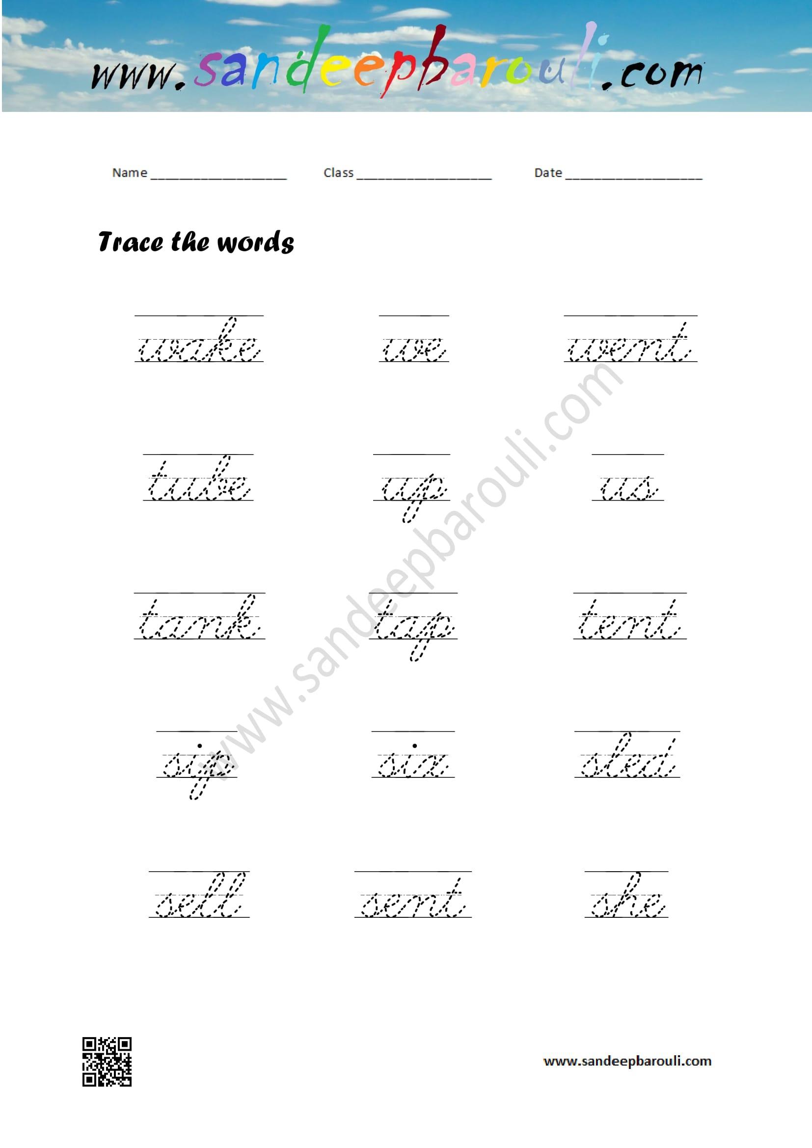 Cursive Writing Worksheet Trace The Words 3 Sandeepbarouli