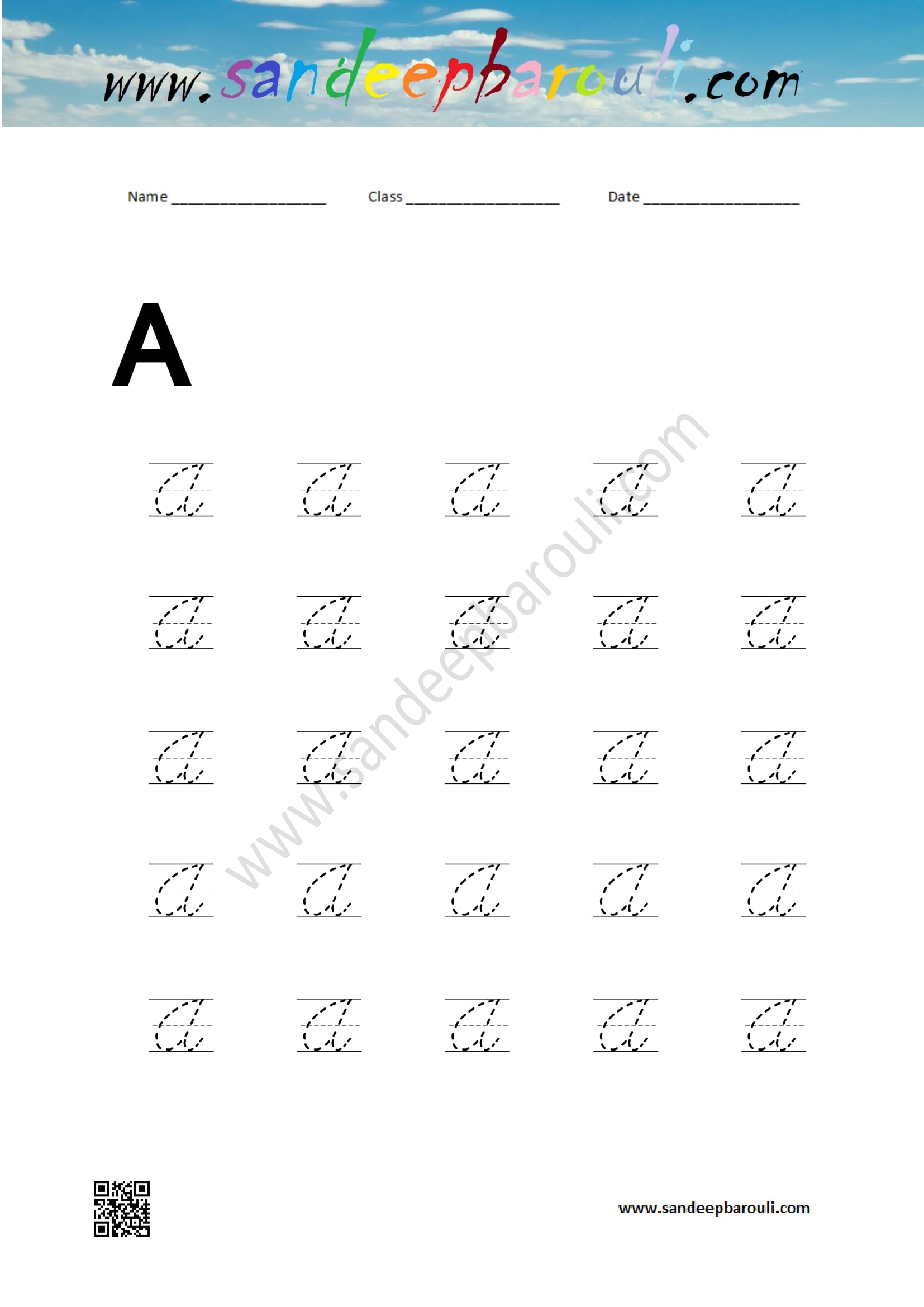 Cursive Writing Worksheet For A Ndeepbarouli