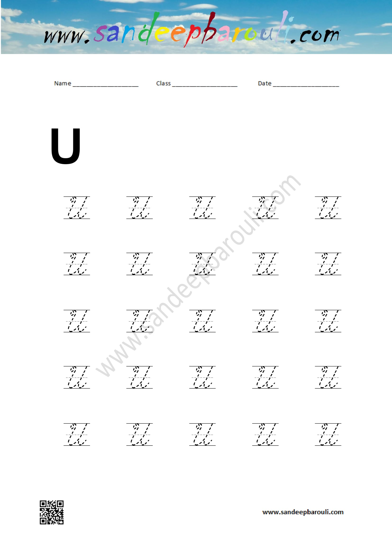 Cursive Writing Worksheet For U Ndeepbarouli
