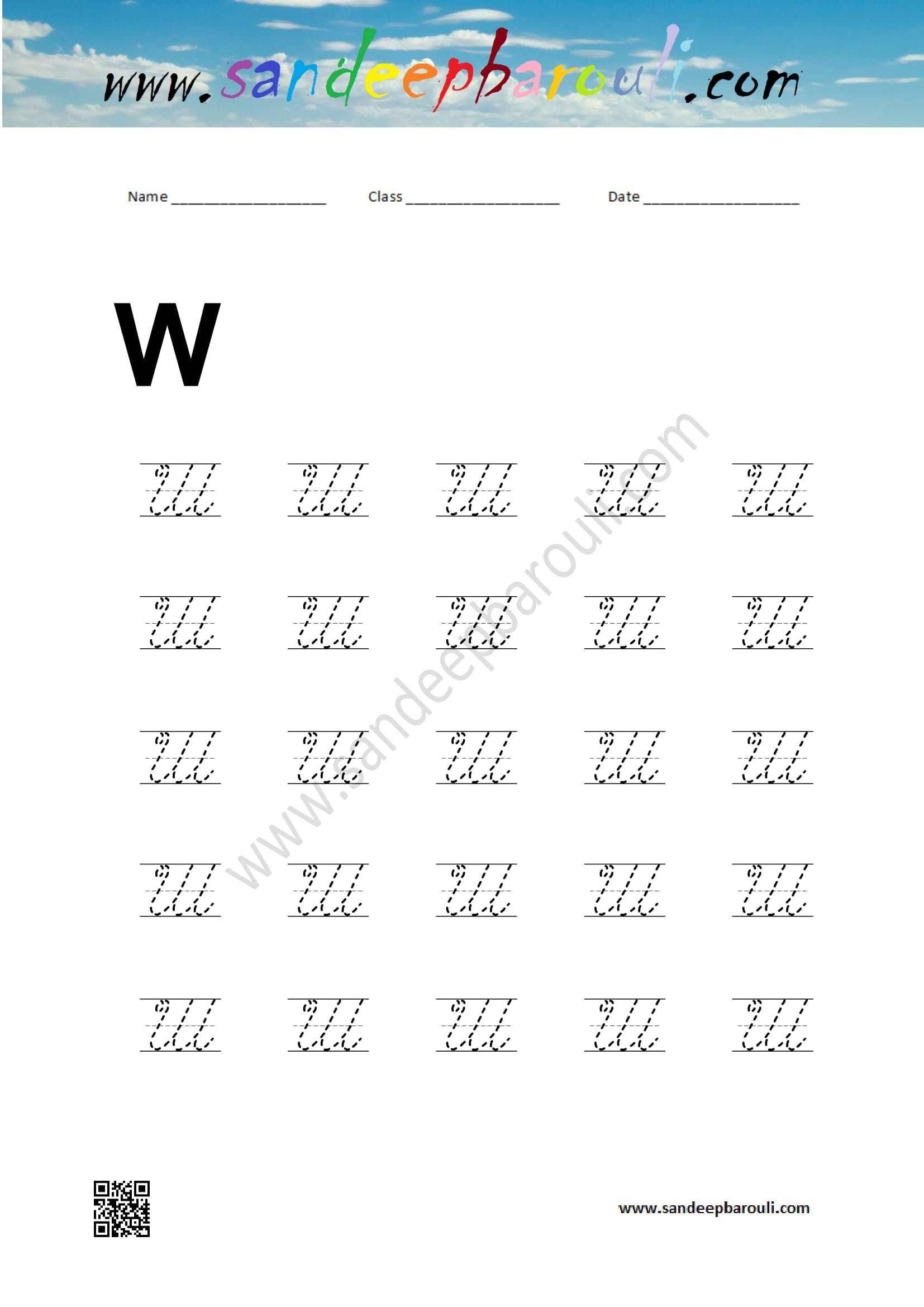 Cursive Writing Worksheet For W Sandeepbarouli