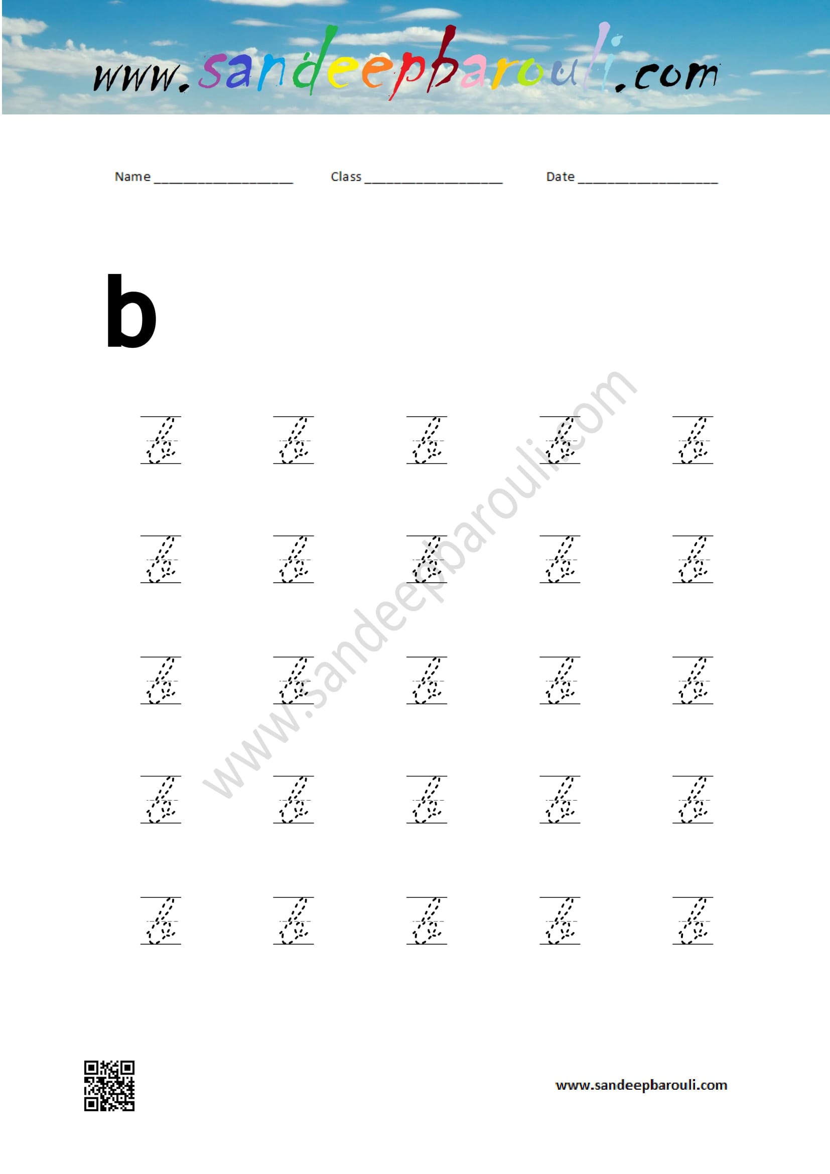 Cursive Writing Worksheet Letter B