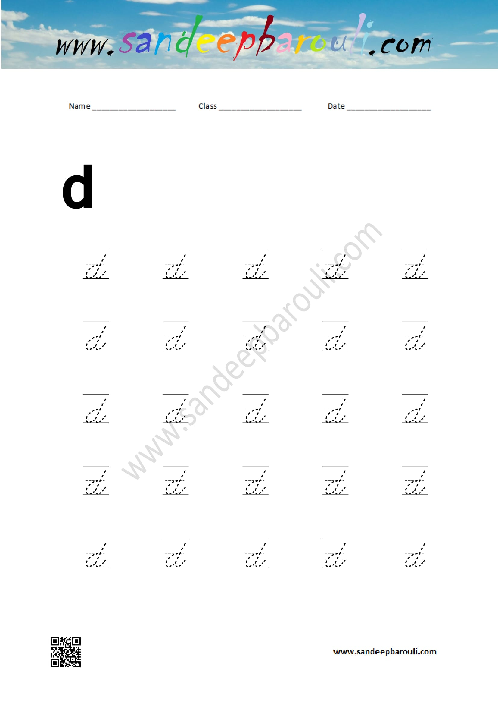 Cursive Writing Worksheet For Small Letters D Sandeepbarouli