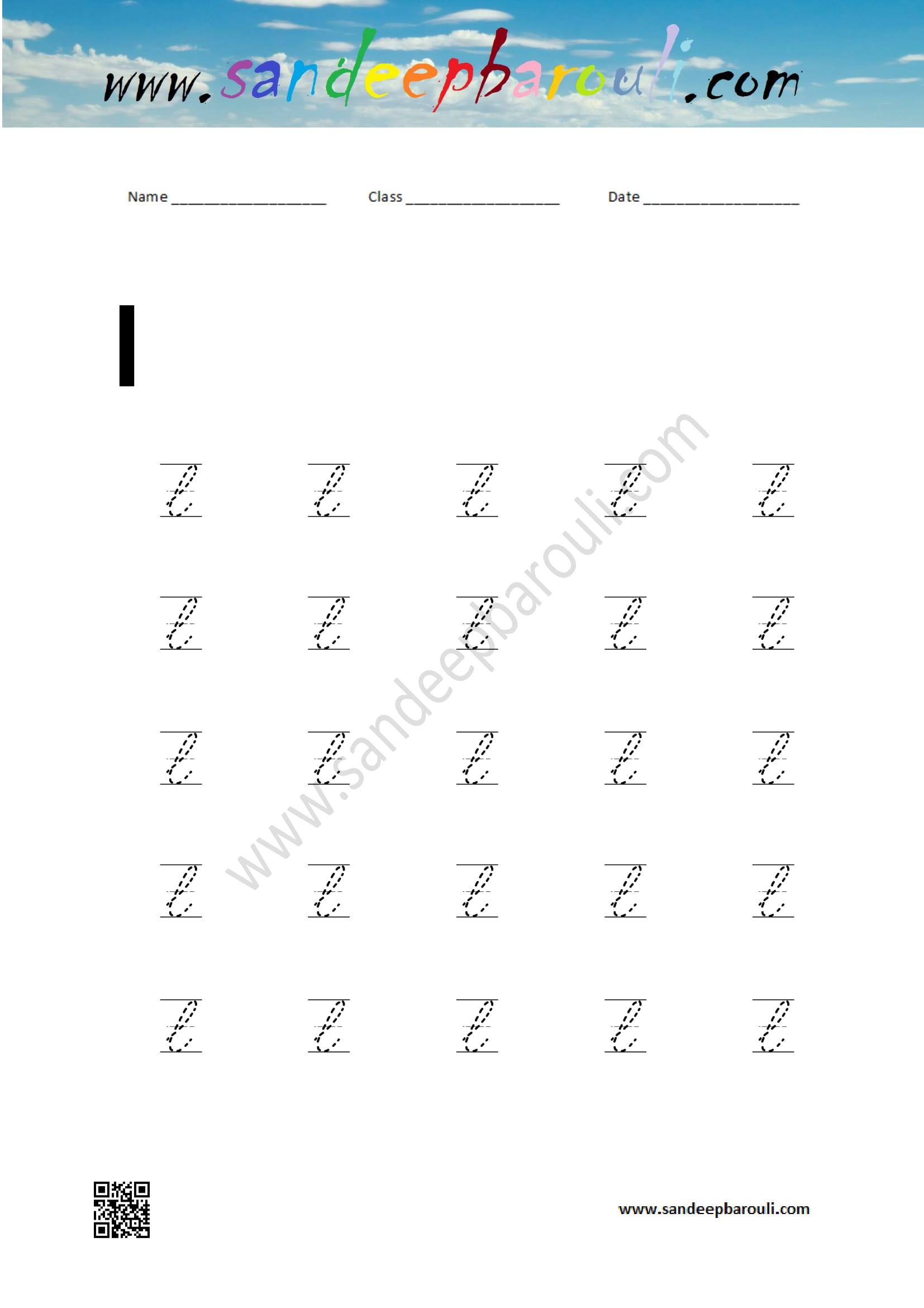 Cursive Writing Worksheet For Small Letters L