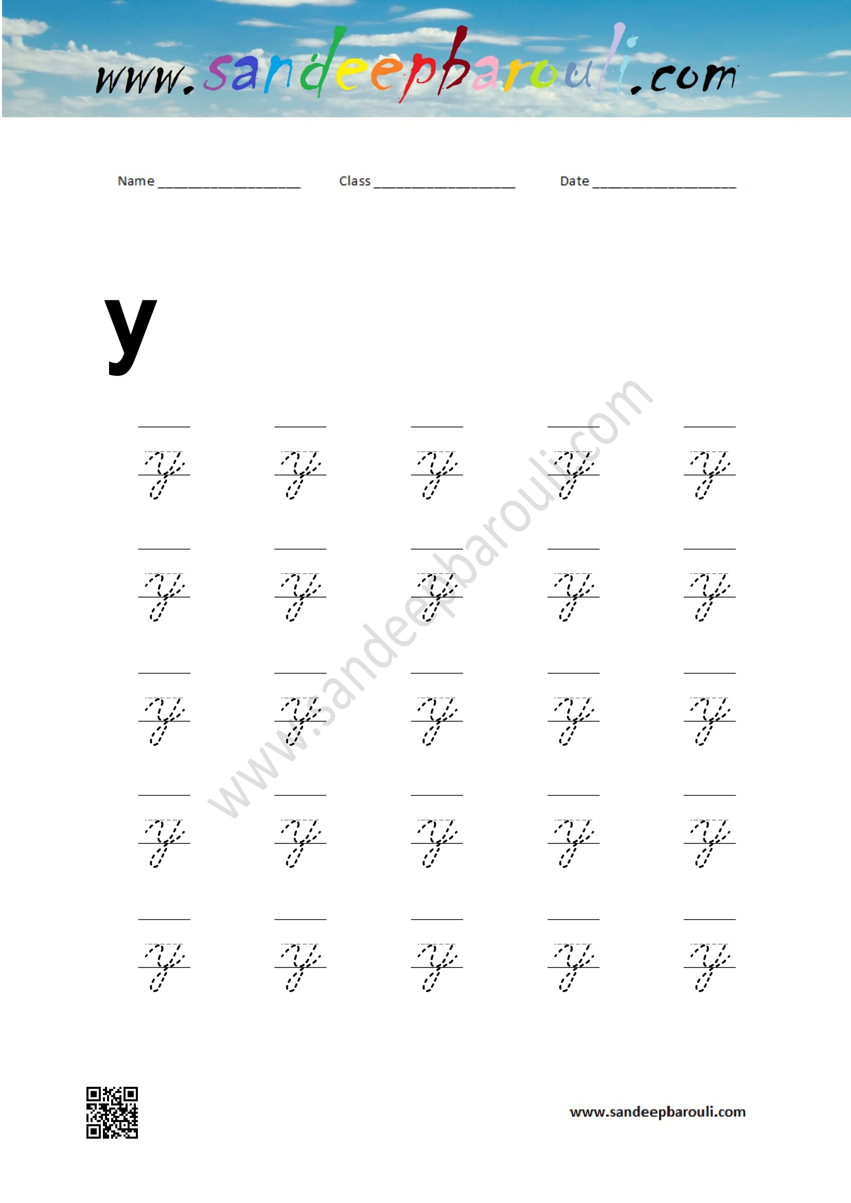 Cursive Writing Worksheet For Small Letters Y