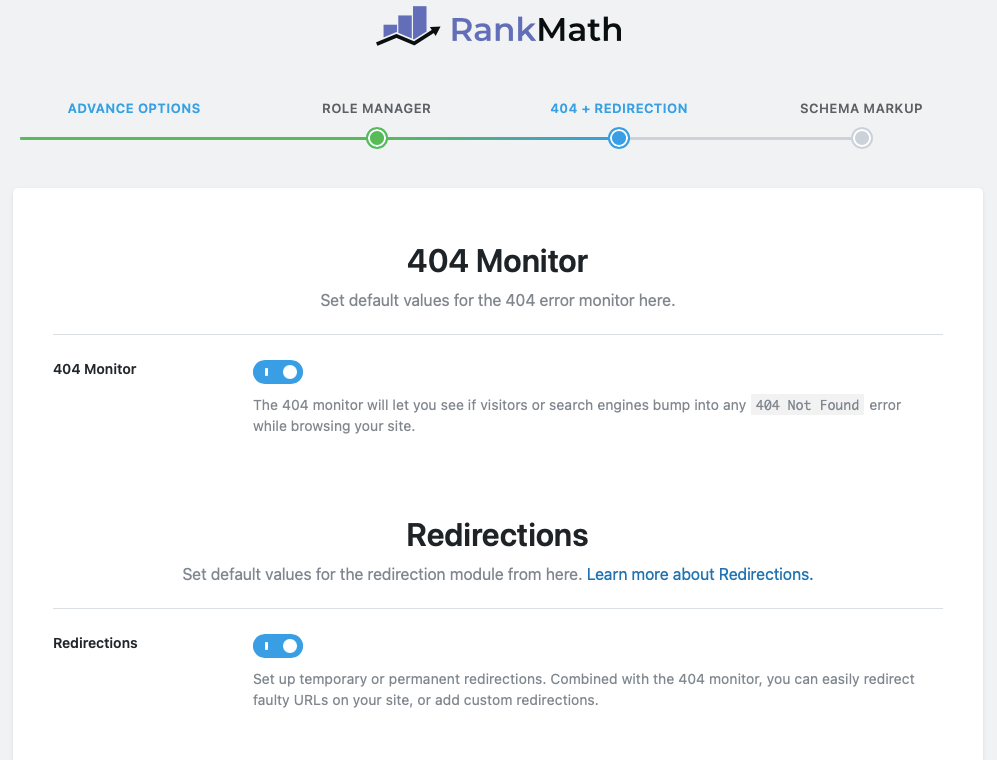 RankMath 404 Redirections
