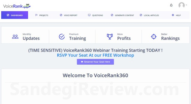voice rank 360 2.0 review main dashboard