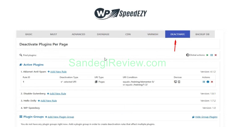 wp speedezy review deactive settings