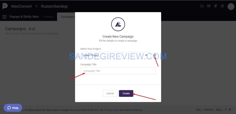 maxconvert create a campaign