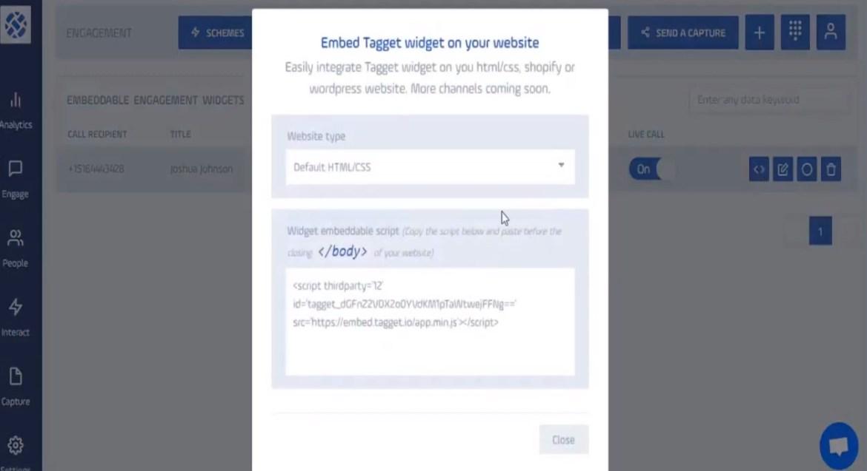 copy widget to your site