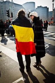 Vakbonden protesteren in Brussel tegen Interprofessioneel Akkoord.