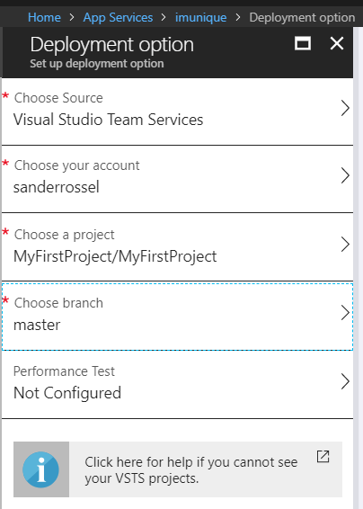 Deployment settings in Azure