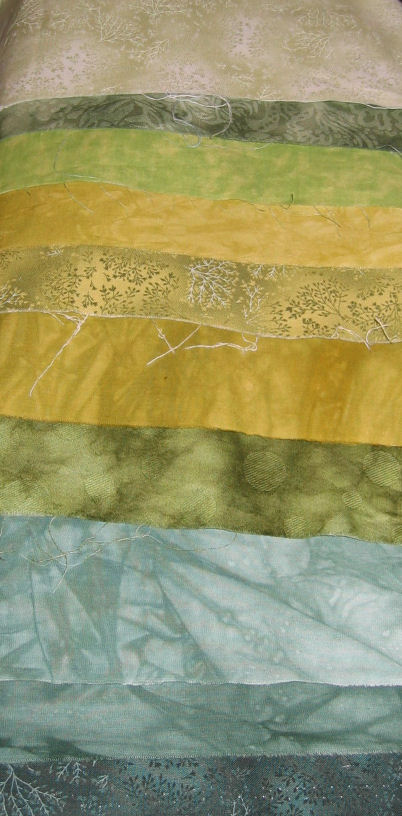 Green fabrics for the background