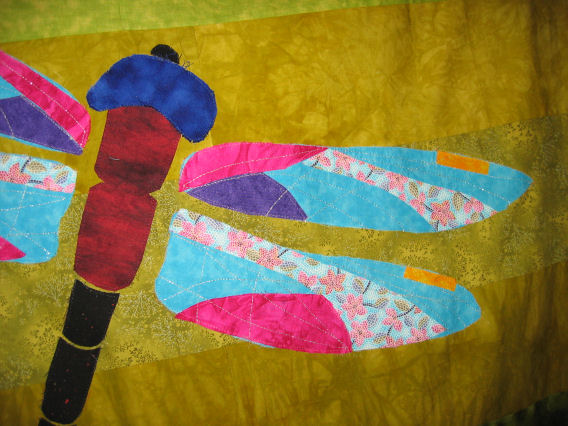 Applique pieces stitched down with monofilament