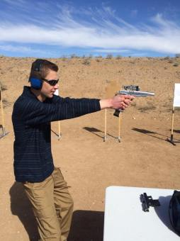 Tyler practicing with the STI open gun