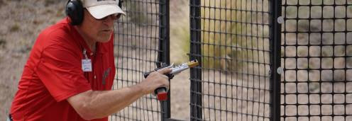 Steve at the 2016 Area 2 Championship in Phoenix - finger off the trigger - safety first!