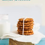 stack of Anzac Biscuits on a wooden block