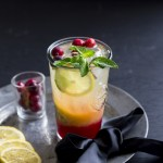 Cranberry Mojito - Holiday Mocktail drink served on a pewter plate