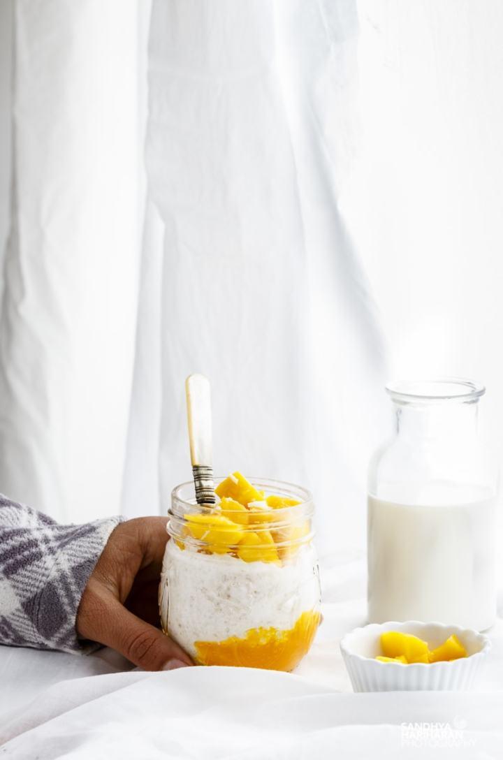 healthy mango coconut overnight oats recipe
