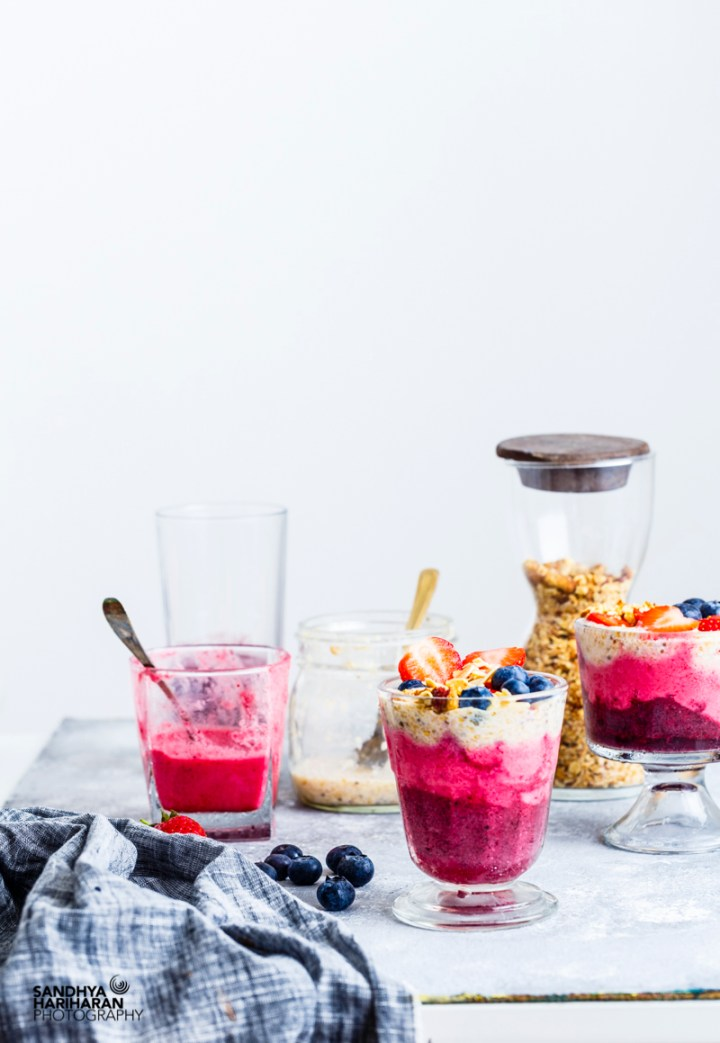 Berry Coconut Chia Seeds Layered Breakfast Cup