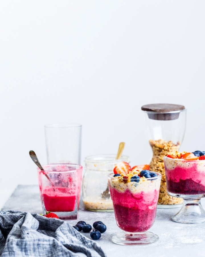berry-coconut-chia-seeds layered breakfast cup