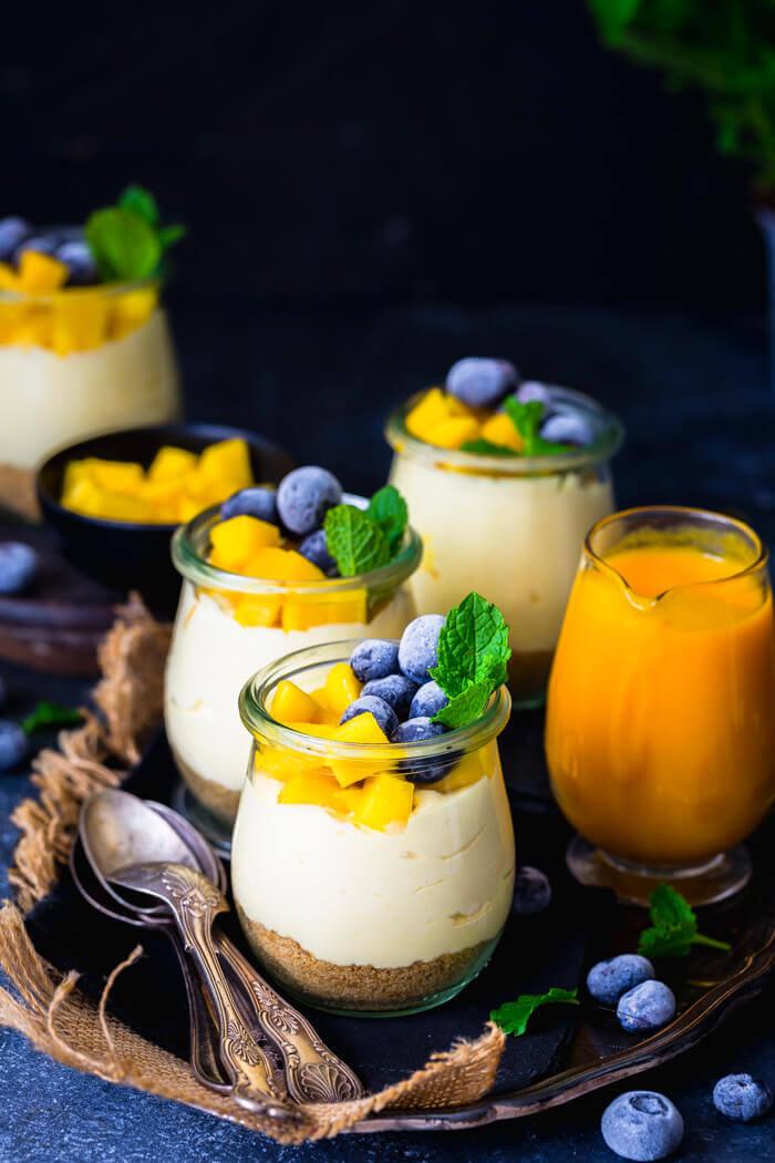 No bake Mango Cheesecake Jars