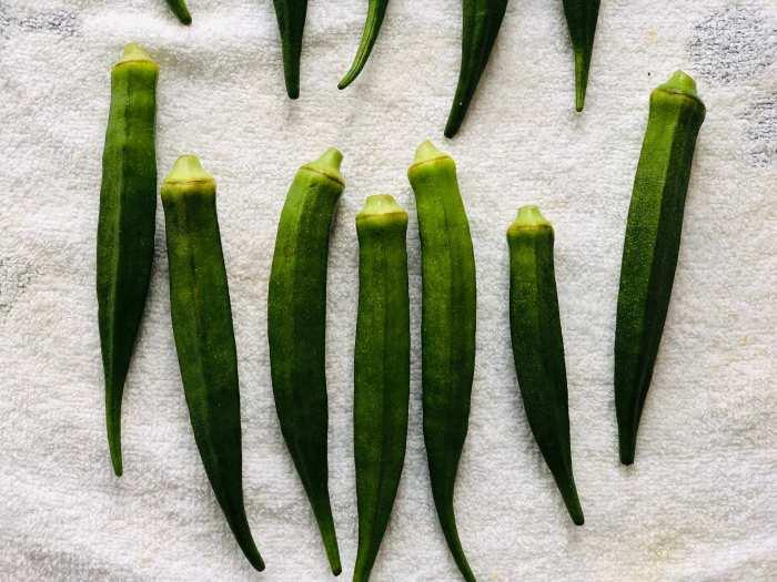 washed okra for pachadi