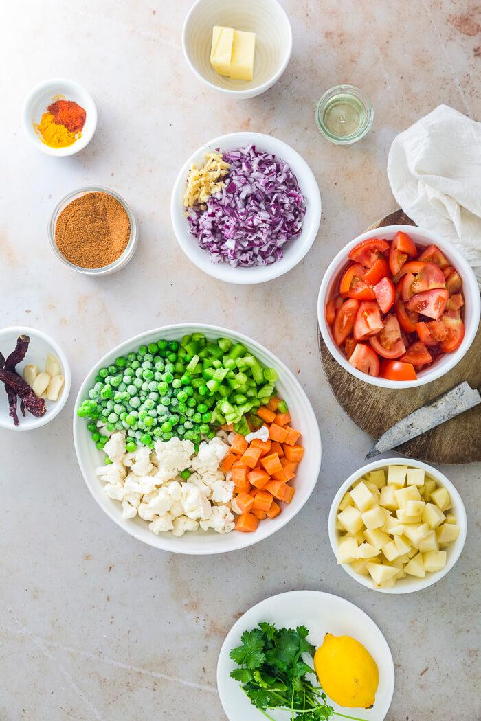 Ingredients for Instant Pot Pav Bhaji Recipe
