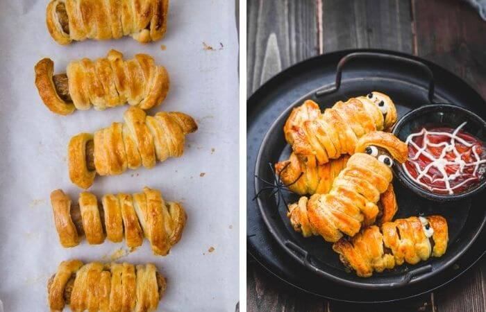Bake the mummy sausage  and serve with ketchup