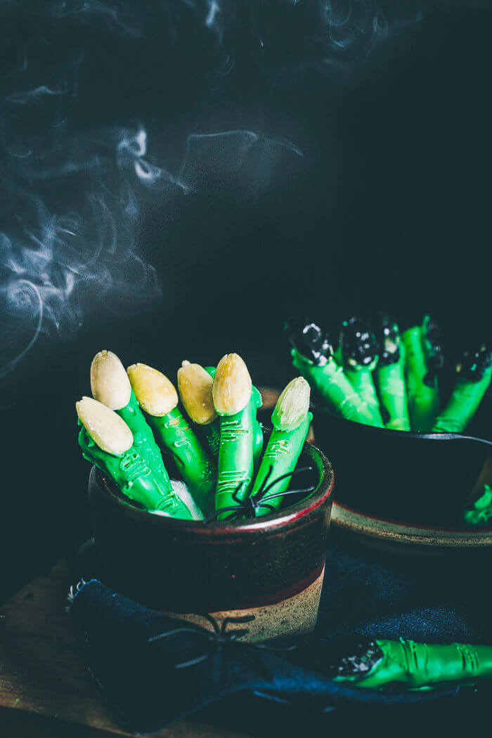 witch finger bread sticks in bowls