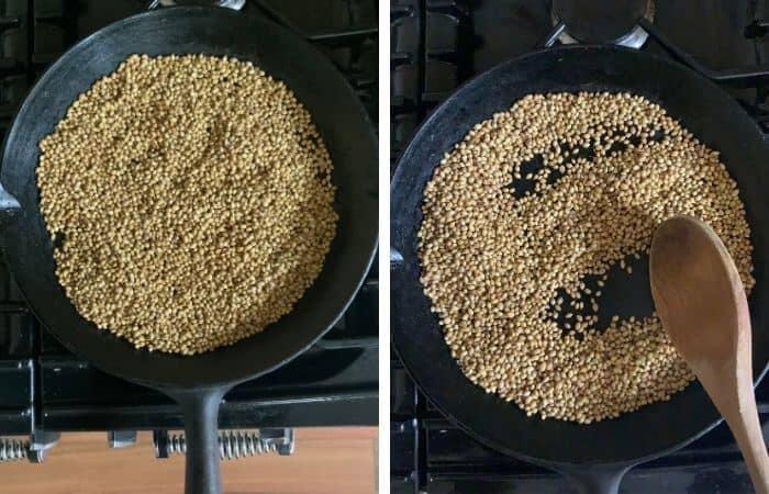 Coriander seeds in a skillet