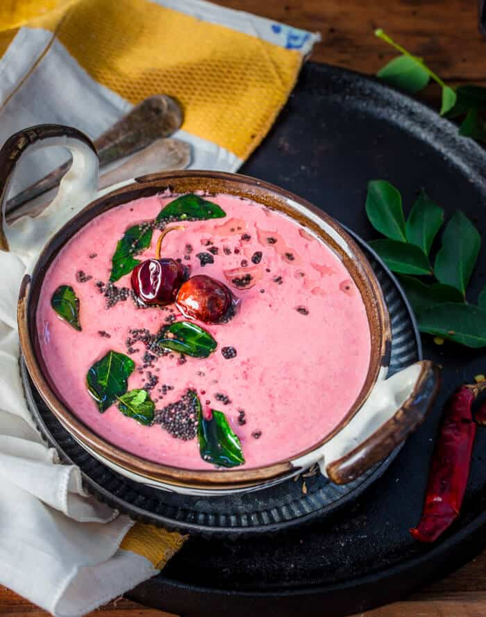 SouthIndian Beet Pachadi with Yogurt