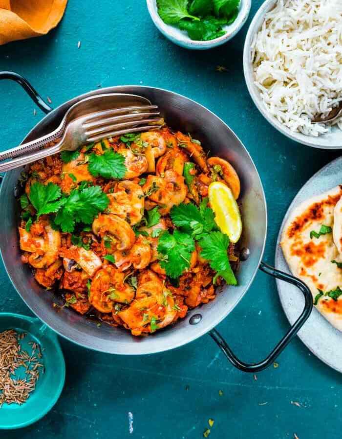easy BIR style bhaji with mushrooms