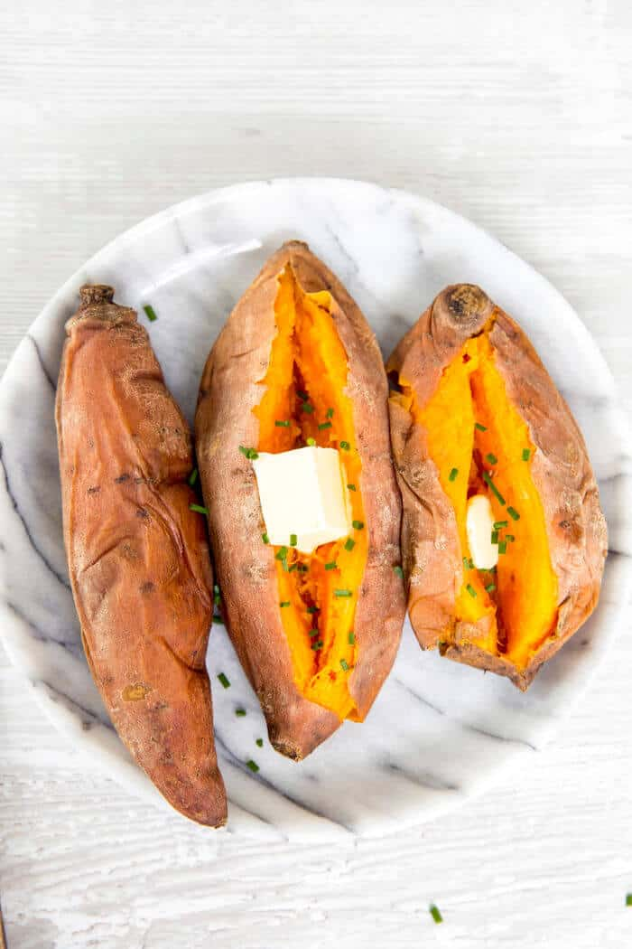 perfectly steamed sweet potatoes