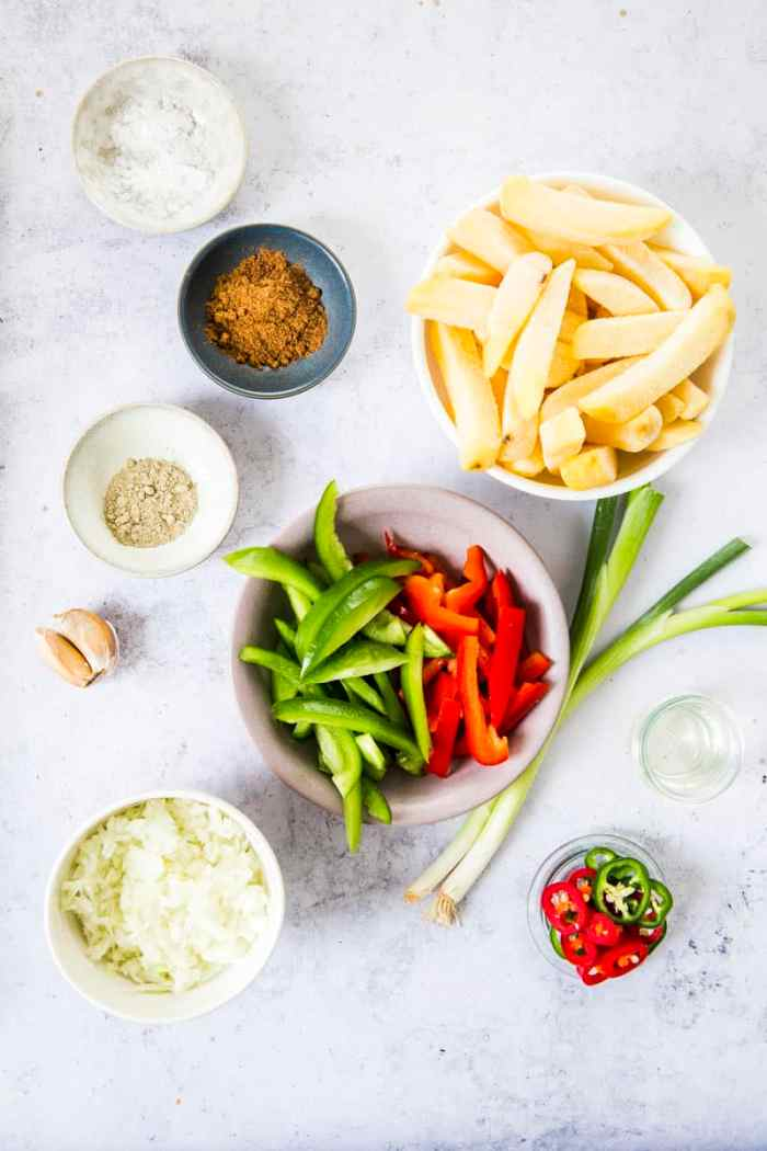 Ingredients for Takeaway Chinese Salt & Pepper Chips recipe