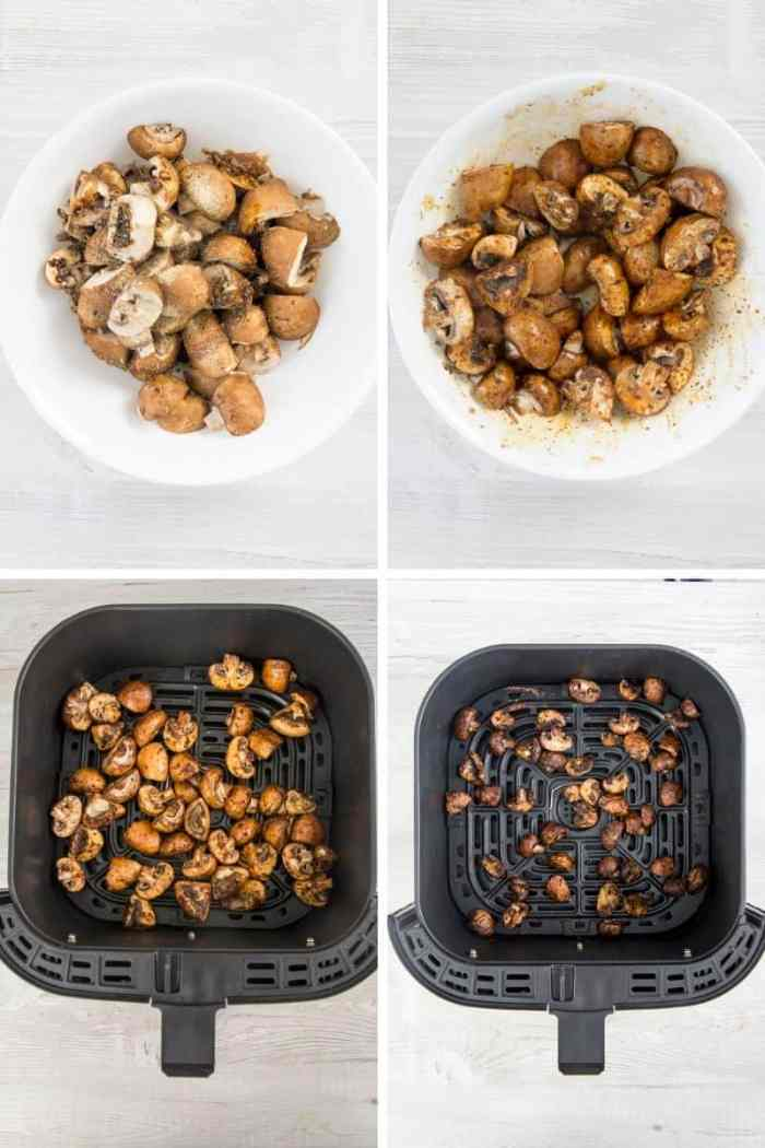 Step by Step directions to make Air fryer Mushrooms