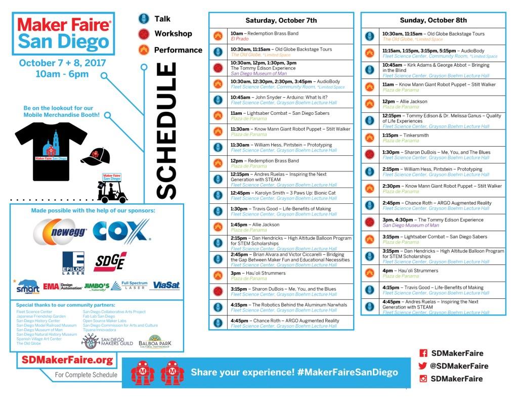 Maker Faire San Diego Event Schedule