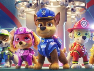 L-R: Zuma (voiced by Shayle Simons), Rocky (voiced by Callum Shoniker), Skye (voiced by Lilly Bartlam), Chase (voiced by Iain Armitage), Marshall (voiced by Kingsley Marshall), and Rubble (voiced by Keegan Hedley) in PAW PATROL: THE MOVIE from Paramount Pictures. Photo Credit: Courtesy of Spin Master.