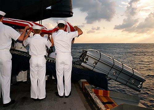 full body burial at sea