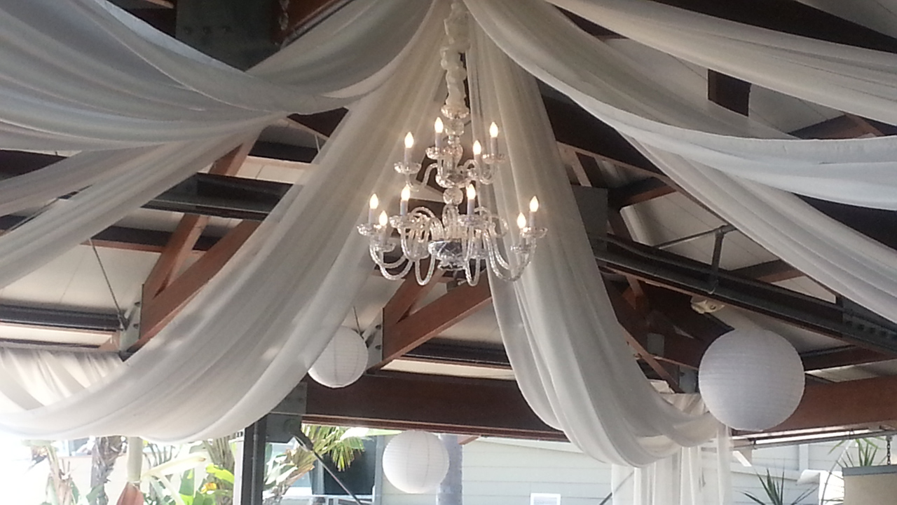 San Diego Ceiling Draping and Chandelier, Bali Hai, San Diego