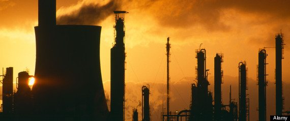 pollution global warming belching chimneys at a chemical plant Port Talbot Wales UK
