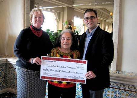 Gracia Molina de Pick presenting Mesa College President Dr. Pamela T. Luster and Chicana/o Studies chair Dr. César López a check for the endowment.