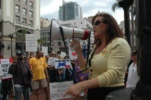 Lorena Gonzalez at a 2011 Labor Day Rally for the Jobless.