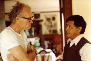Fred Ross, Sr. & Cesar Chavez on Grove Street in 1979 leading United Domestic Workers Organizing Training