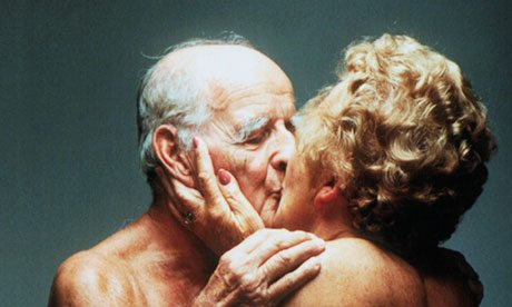 Older people kissing
