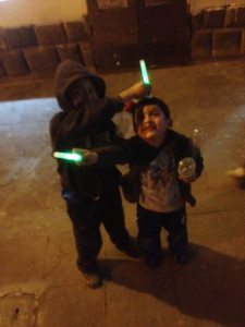 Glow sticking kids.