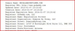 The Recall Website was registered back in January. Credit: SD Reader