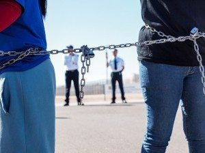 Six people chained themselves together and shut down the Eloy immigrant detention center Monday. (Immigrant Youth Justice League/Isaac Steiner)